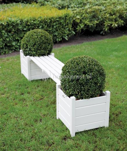 Hedendaags Esschert Design Farm Folklore houten tuinbank met bloembakken wit WF-59