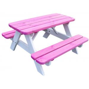 Minnie kinderpicknicktafel roze/wit
