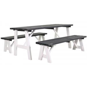 Rodeo houten picknicktafel wit/grijs