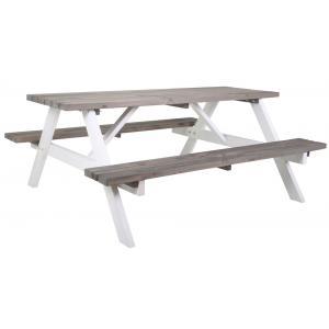 Simone houten picknicktafel grijs/wit