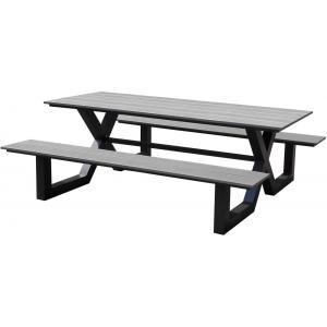 Family aluminium picknicktafel grijs