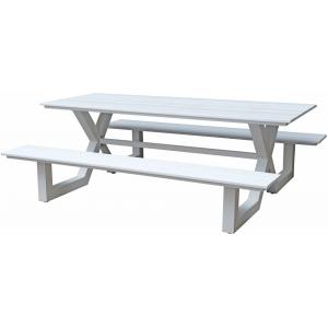 Family aluminium picknicktafel wit
