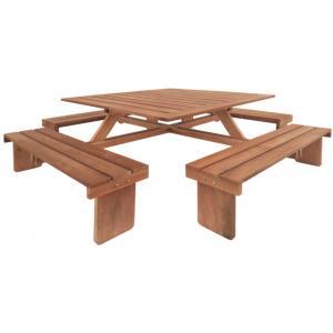 Vierkante picknicktafel hardhout