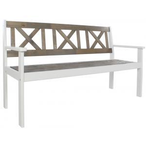 Luton 3-zits houten tuinbank grijs/wit